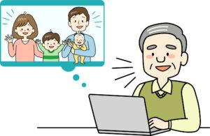 家族動画を見る老人